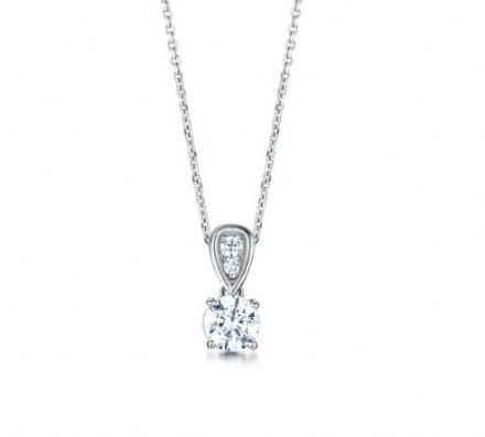 18ct White Gold  G, VS Diamond Four claw round pendant  grain set swinging bail.